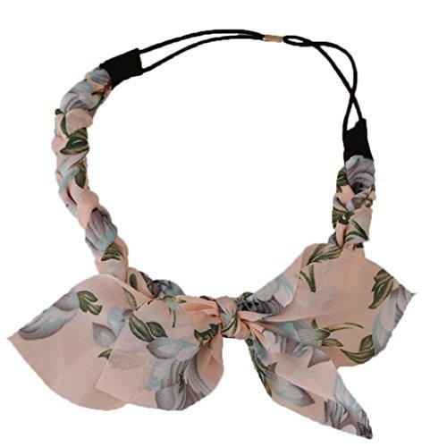 Women Chiffon Floral Bowknot Braid Headband Rabbit Ear Elastic Hairband Bowknot Rabbit