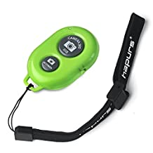 Hapurs Bluetooth Wireless Remote Control Camera Shutter Release Self Timer for iPhone 5S 5C 5 4S 4, iPad Air Mini, Samsung Galaxy S5 S4 S3 Note Tab, Google Nexus, HTC, Sony and other iOS Android Phones -Green