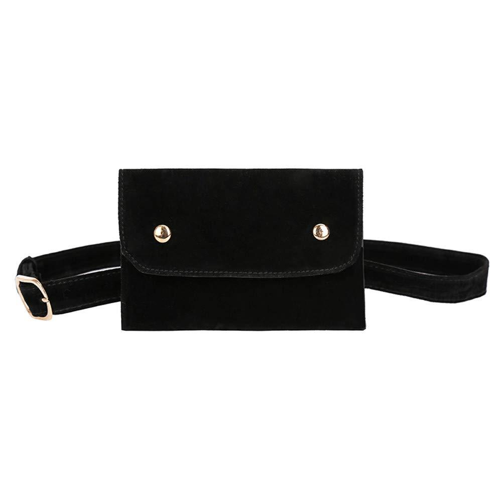 Clearance ❤ Women Bag JJLIKER Fashion Pure Color Square Flock Button Waist Bag