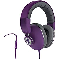 JLab Audio Bombora Over-Ear Headphones with Universal Mic, Matte Purple/Gray