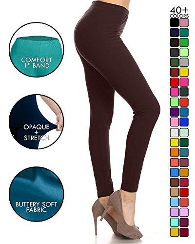Leggings Depot Ultra Soft Basic Solid Plain Best Seller Leggings Pants (One Size (Size 0-12), Brown)