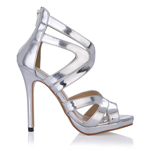 New Female sandals temperament and Annual Dinner of the high-heel shoes silver mirror fish tip women shoes Silver