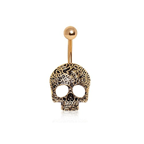 Vine Skull Belly Button Ring with Gold Plating over 316L Surgical Steel (Skull Ring Navel)