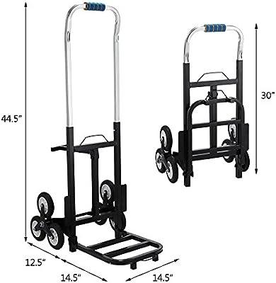 Tecmaqui Carretilla de Carga para Escaleras Capacidad de 150kg Carro Portátil de Escalera para Todos los Terrenos Carretilla Plegable con 6 Ruedas: Amazon.es: Industria, empresas y ciencia