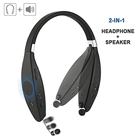 Bluetooth Speakers Headphones with Microphone for iPhone 2017 Latest Design Wireless Headset FoYoung Wireless In Ear Headphones Plus Bluetooth Speaker 32 Hours Long Battery(Headphone) Matte (Cvs Hours)