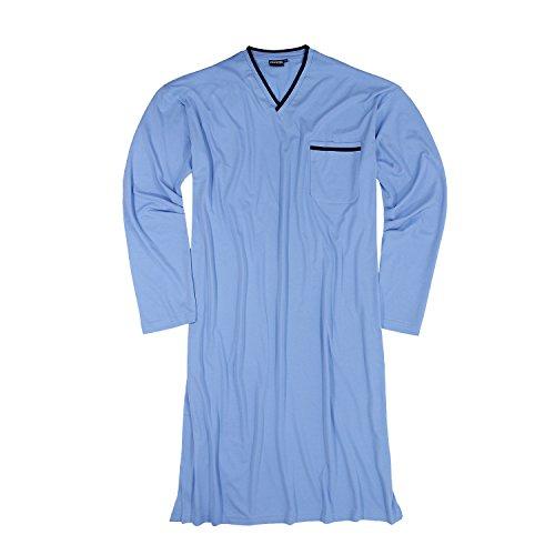 Langärmliges Herren Nachthemd in hellblau von Adamo bis Übergröße 10XL