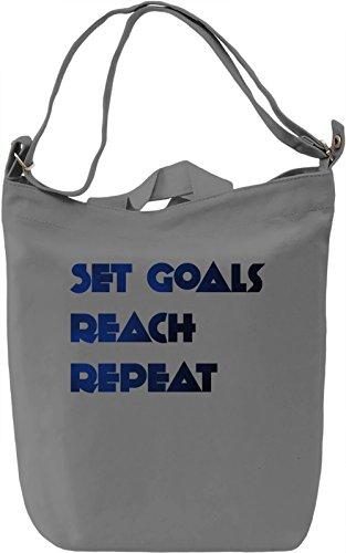 Set Goals Borsa Giornaliera Canvas Canvas Day Bag| 100% Premium Cotton Canvas| DTG Printing|