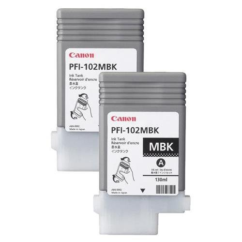 Canon 2X PFI-102MBK Pigment Matte Black Ink Tank for The imagePROGRAF iPF500/600/700 Inkjet Printers, 130 ml. ()