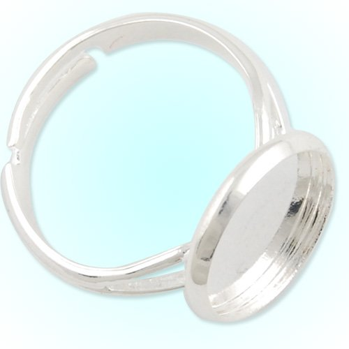 12mm Round Cabochon Settings- Adjustable Silver Plated Ring Blank-50PCS