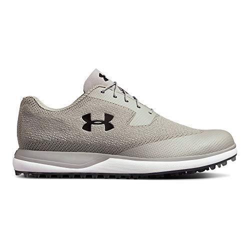 (Under Armour Men's Tour Tips Knit Spikeless Golf Shoe, Steel (100)/Zinc Gray, 9.5 )