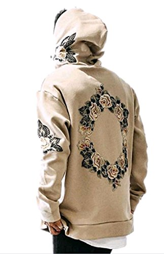(Comfy-Men Embroidery Floral Printed Sweatshirt Hoodie College Jacket Coat Khaki L)