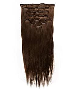 HAIR EXTENSION Clip in ASH BROWN 55 CMS, 220 GRAMS, 4 PIECES