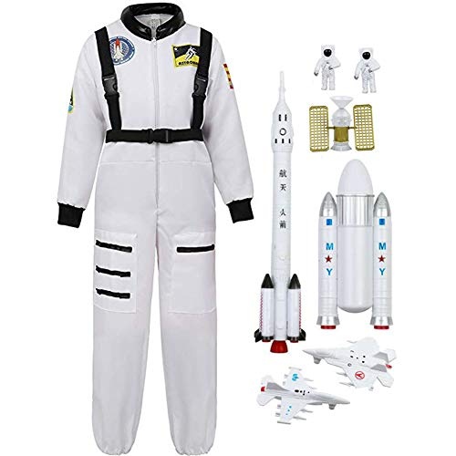 (Children's Astronaut Costume Jumpsuit + Space Rocket & Shuttle Adventure 7 Piece Space Toy Set (110-120CM,)