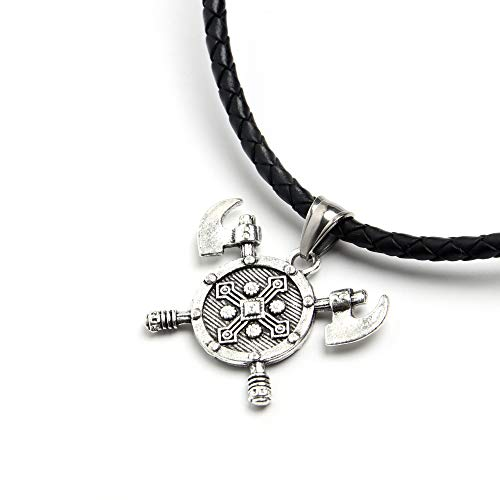 (HAQUIL Viking Jewelry Viking Axe Shield Pendant Necklace for Men for Women )