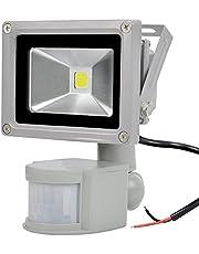 GLW 12v DC/AC Sensore di Movimento Proiettore,10w mini ip65 Impermeabile Luci All'aperto,900lm,6000k,Luce Bianca Luce di Sicurezza con PIR,No spina,80w Lampadina Alogena Equivalente