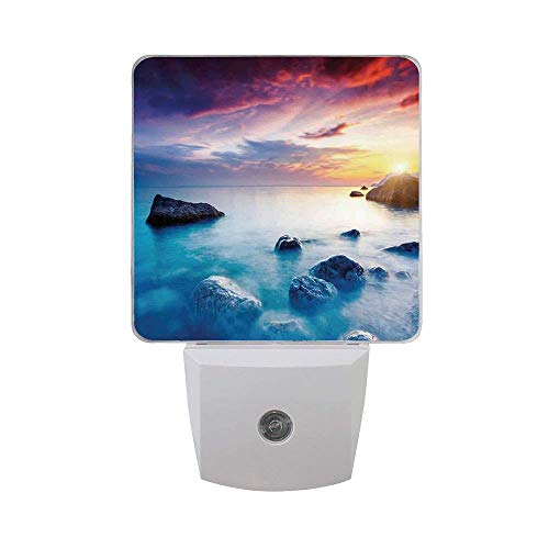 Coastal Majestic Summer Sunset Dramatic Overcast Set of 2 Night Light,Auto Sensor LED Night Light Plug in Indoor for Adults Bedroom,Kitchen,Hallway,Stairs Night Light