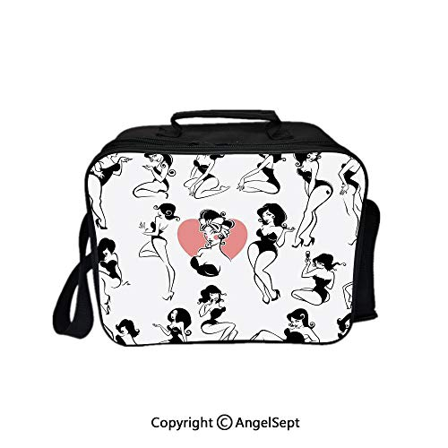 Travel Picnic Lunch Box Wide Open Lunch,Famous Sexy Girl Model Posing with Full Body Features Heart Tattoo on Thigh Make Up Black White 8.3inch,Lunch Bags For Unisex Adults