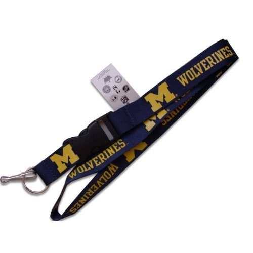 Michigan Wolverines Sports Team Logo Clip Lanyard Keychain Id Ticket Blue