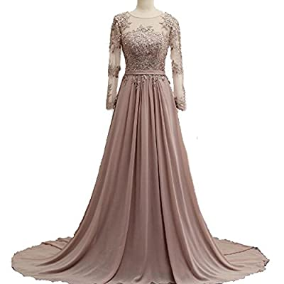 Meilishuo Women's Sheer Neck Applique Bridesmaid Dress Chiffon Evening Formal Dress with Long Sleeves for Prom Party