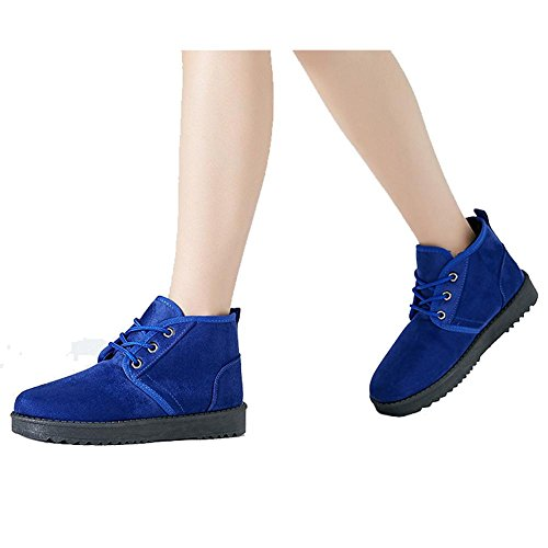 Women Short Boots Cotton Suede Flat Heel Thicker Plush Warm Ankle Casual Shoelace Sports Shoes BLUE-43 pGK0n