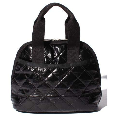 LeSportsac Black Crinkle Quilted Patent Amelia Convertible Crossbody & Top Handle Tote Handbag, Style 3354/Color ()