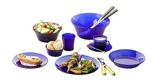 Cobalt Blue Dishes - Duralex - Lys Saphir Glass Dinnerware, 44pc Set Service For 6