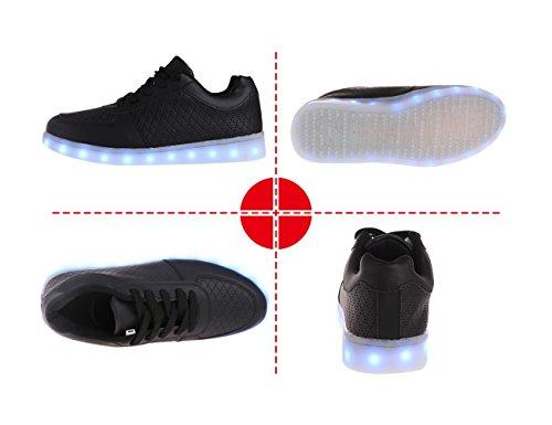 Otro Verano 7 Colores Led Luminoso Unisex Hombres Y Mujeres Zapatillas De Carga Usb Luz Colorido Brillante Ocio Zapatos Planos Black2