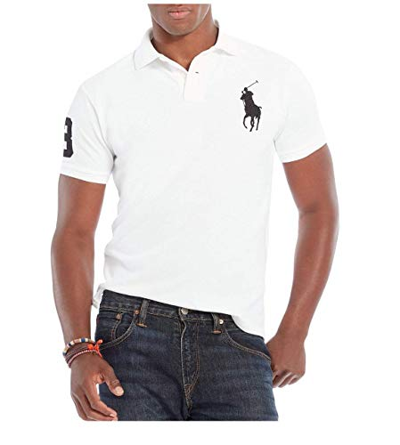 Polo Ralph Lauren Mens Custom Fit Big Pony Logo Polo Shirt (XX-Large, Classic White) (Lauren Polo Rugby Shirt Ralph)