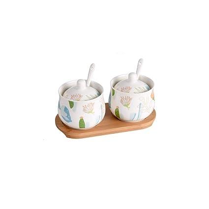 lktlg Tarro de Especias, Caja de Especias de cerámica Suministros de Cocina Caja de condimentos