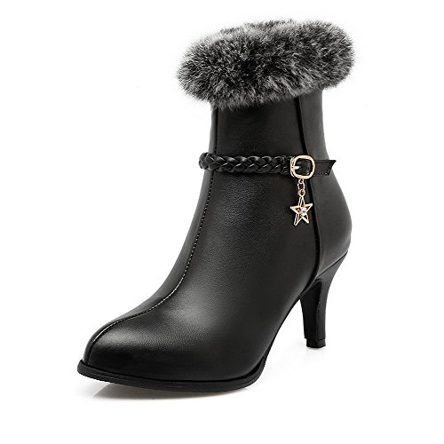 Allhqfashion Women's Mid Top Zipper High Heels Round Closed Toe Boots Black nlbUG63