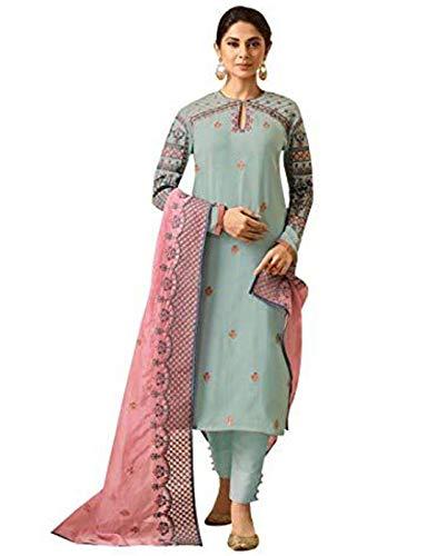 - DesiButik's Glamorous Jennifer Pista Green Maslin Silk Salwar Kameez with Pure Organza Dupatta