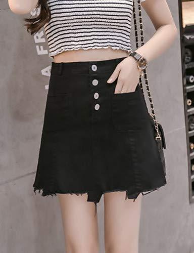 pour Unie Chic Jeans Street Pantalon Couleur Femme YFLTZ Black 7SqgRxnF
