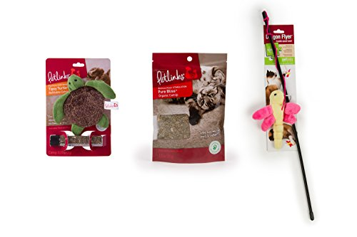 Petlinks 3 Count Refillable Catnip Toy, Catnip & Wand Toy for Cats