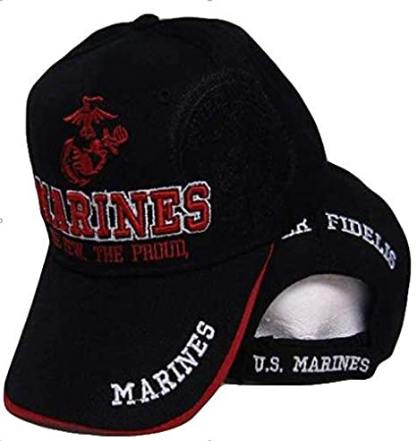 US Marine Marines Corps HAT Black RED USMC The Few The Proud Cap Shadow