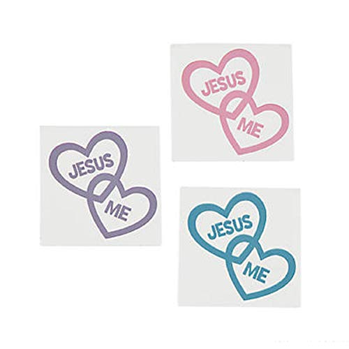 (144) Inspirational JESUS LOVES ME Temporary Tattoos ~ Religious Heart Shaped Tattoos ~ Sunday Bible School Favors Gifts ~ Easter Valentine's Day Holildays ~ Teacher Gifts ~ Party Favors ~ Fundraising for $<!--$8.99-->