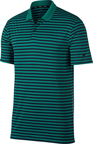 Nike Men's Dry Victory Stripe Polo Golf Shirt (Medium, Teal Blue/Green/Navy)