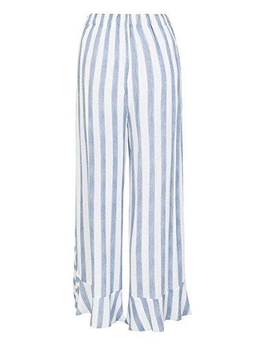Pantaloni Casuale Baggy Dritti Donne Eleganti Lunga Moda Pantaloni Blau Pantaloni A Farfalla Battercake Irregular Accogliente Baggy Vita Donna Gonna Elastica Larghi Cravatta Stripe Bendare Estivi Pantaloni BzR5q
