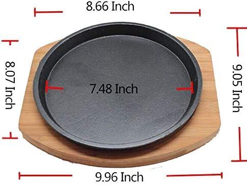 HYYDP Pot Plateau de fromages en plaque de fer rond avec plateau en aluminium Plat de barbecue commercial Teppanyaki, 22 cm