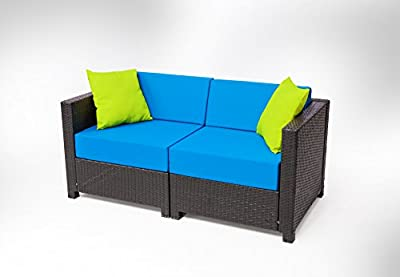 MCombo 12 Piece Luxury Black Wicker Patio Sectional Indoor Outdoor Sofa Furniture Set with Blue Cushion