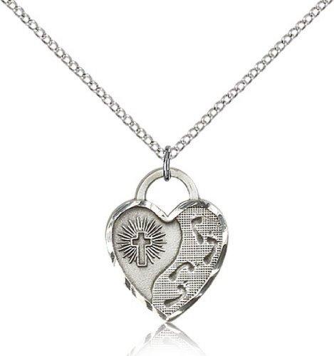 Icecarats Créatrice De Bijoux Argent Sterling Empreintes Pendentif Coeur 3/4 X 5/8 Pouces