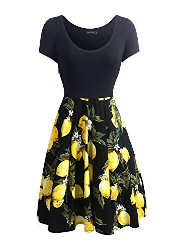 Simier Fariry Womens Summer Short Sleeve Round Neck Lemon Print Slim Fit Casual Work Dress M - Scoop Neck Dress
