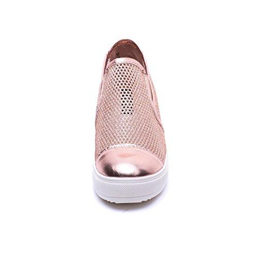 MForshop Interna Slippers Traforate Pelle 8601 Zeppa giallo Sneakers Scarpe Slip Eco On Donna fCqnawprxf
