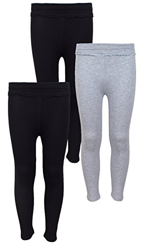 [Real Love Girls' 3 Pack Ruffle Yoga Leggings, Size 14/16, Black Heather and Black] (Real Designer Clothes)