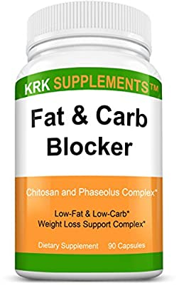 1 Bottle Fat and Carb Blocker with Phaseolus Vulgaris (White Kidney Bean Extract) Chitosan Extreme Diet Pills Weight Loss 90 Capsules KRK Supplements