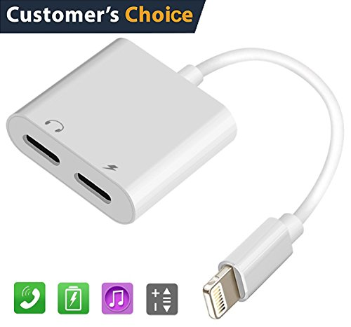 LABOL Dual Headphones Adapter Compatible with iPhone 7/7 Plus/8/8 Plus/X/Xr/Xs/Xs Max - 2 in 1 Charge and Listen - White