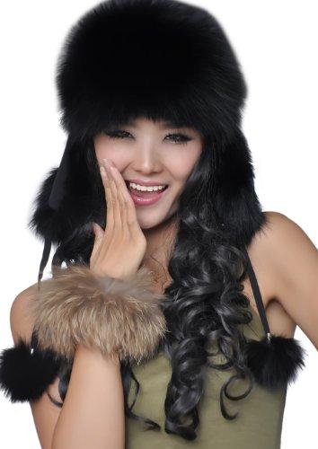 facf08d7621 URSFUR Women s Genuine Fox Fur Russian Ushanka Hats Multicolor (Black)
