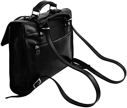 TUSCANY LEATHER - Viareggio - Elégante serviette pour portable en cuir avec 3 compartiments - Marron