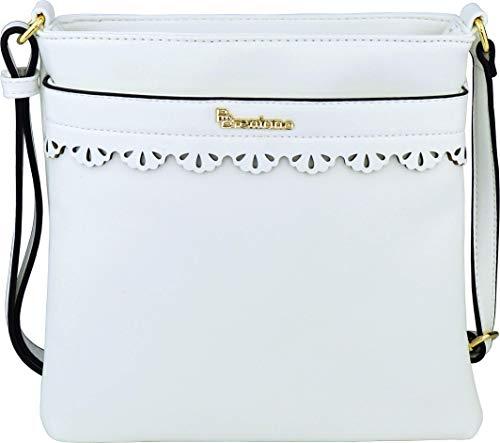 B BRENTANO Vegan Medium Crossbody Handbag Purse (White.)