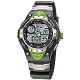 PASNEW Boys Watch Analog Digital Dual Time Watch Waterproof Sports Casual Boys Wrist Watches 388ad Green