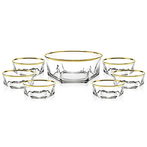 Elegant Luxury Crystal 7 Piece Serving Salad Bowl Set with 24k Gold Trim. 1 Large and 6 Small. Made of Fine Imported Glass.